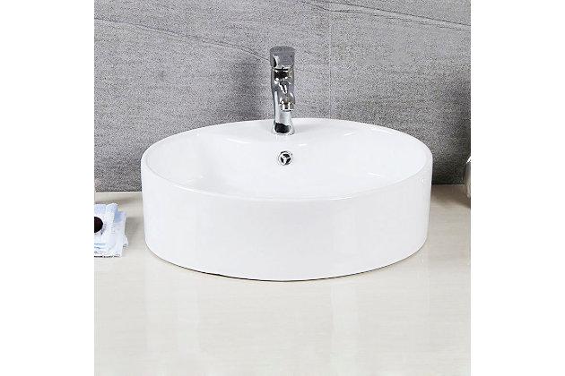 Safavieh Brook Porcelain Ceramic Vitreous Oval Bathroom Vessel Sink, , large