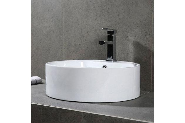 Safavieh Mira Porcelain Ceramic Vitreous Oval Bathroom Vessel Sink, , large