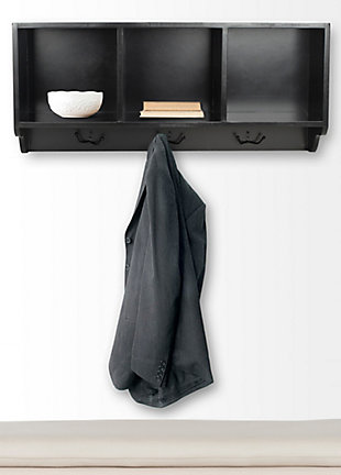 Safavieh Alice Wall Shelf with Storage Compartments, Black, rollover