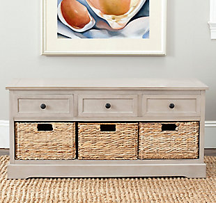 Safavieh Damien 3 Drawer Storage Bench, Vintage Gray, rollover