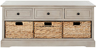 Safavieh Damien 3 Drawer Storage Bench, Vintage Gray, large
