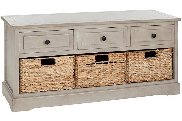 Safavieh Damien 3 Drawer Storage Bench, Vintage Gray, large