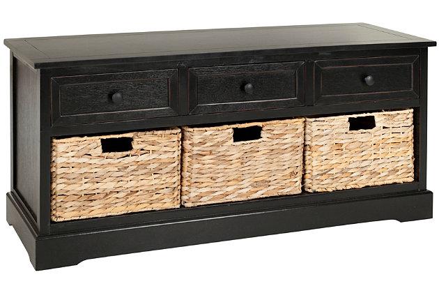 Safavieh Damien 3 Drawer Storage Bench, Distressed Black, large