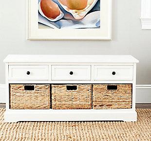 Safavieh Damien 3 Drawer Storage Bench, Distressed Cream, large
