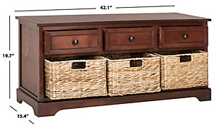 Safavieh Damien 3 Drawer Storage Bench, Dark Cherry, large