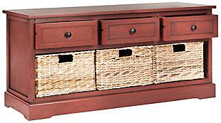 Safavieh Damien 3 Drawer Storage Bench, Red, large