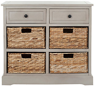 Safavieh Herman Storage Unit with Wicker Baskets, Vintage Gray, large