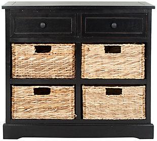 Safavieh Herman Storage Unit with Wicker Baskets, Distressed Black, large