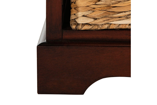 Safavieh Herman Storage Unit with Wicker Baskets, Dark Cherry, large