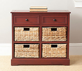 Safavieh Herman Storage Unit with Wicker Baskets, Red, rollover