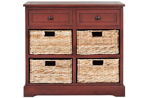 Safavieh Herman Storage Unit with Wicker Baskets, Red, large
