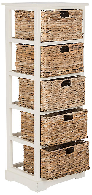 Safavieh Vedette 5 Wicker Basket Storage Tower, Distressed White, large