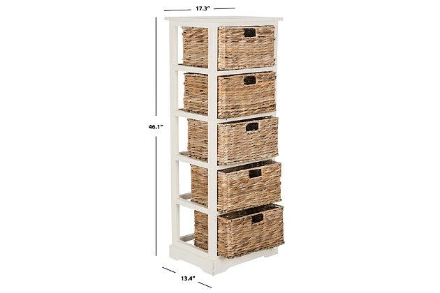 Safavieh Vedette 5 Wicker Basket Storage Tower, Distressed White, large