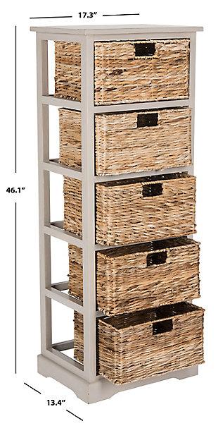 Safavieh Vedette 5 Wicker Basket Storage Tower, Vintage Gray, large