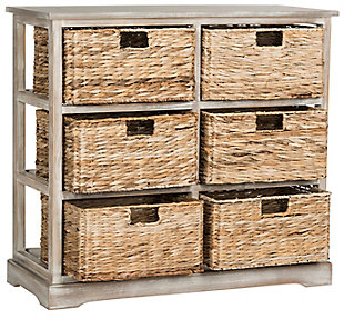 Safavieh Keenan 6 Wicker Basket Storage Chest, Vintage White, large