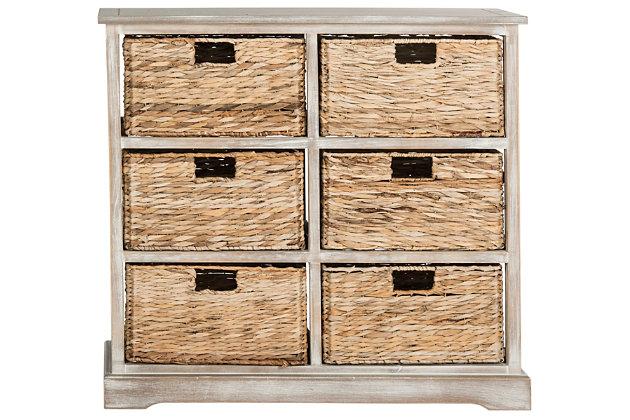 Safavieh Keenan 6 Wicker Basket Storage Chest, Vintage White, large