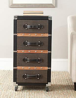 Safavieh Brent 4 Drawer Rolling Chest/Black-Brown-Silver, , rollover