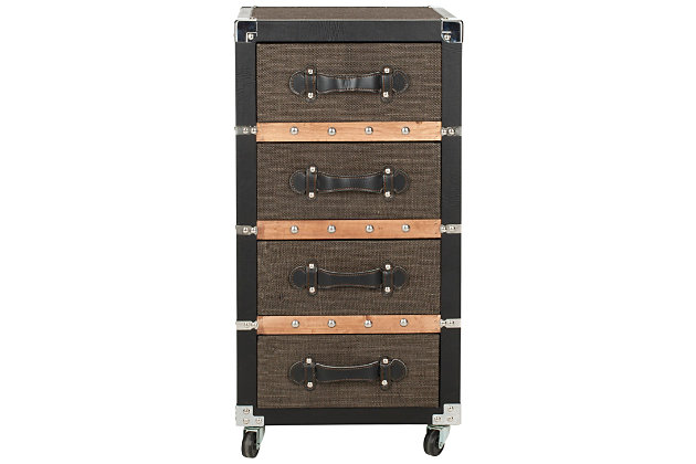 Safavieh Brent 4 Drawer Rolling Chest/Black-Brown-Silver, , large