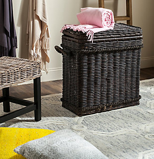 Safavieh Sidonie Wicker Storage Hamper, Dark Natural, rollover