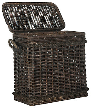 Safavieh Sidonie Wicker Storage Hamper, Dark Natural, large