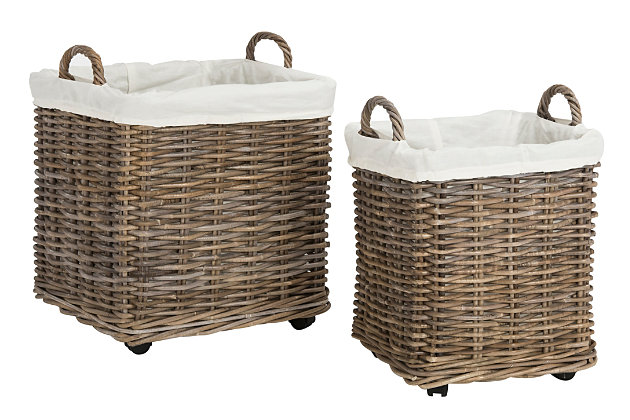 Safavieh Amari Rattan Square Basket with Wheels (Set of 2), , large
