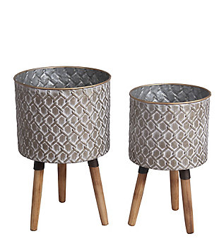 Privilege Metal/Wood Planter (Set of 2), , large
