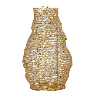 Decorative Linked Wire Gold Metal Lantern with Handle, , large