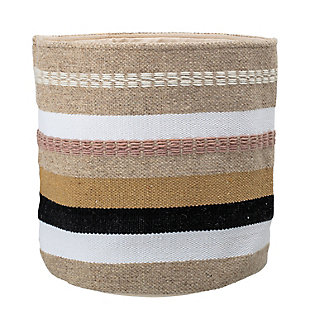 Wool and Cotton Fabric Basket with Grey, Brown and Pink Stripes, , large