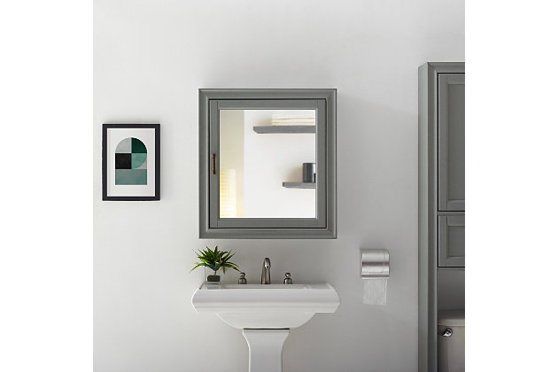 Crosley Tara Bath Mirror Cabinet, Gray, large