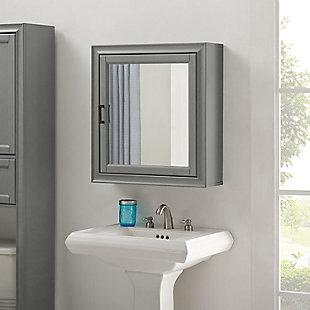 Crosley Tara Bath Mirror Cabinet, Gray, rollover