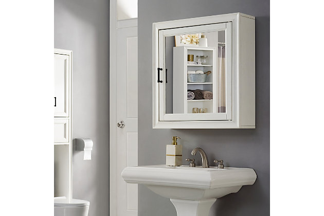 Crosley Tara Bath Mirror Cabinet, White, large