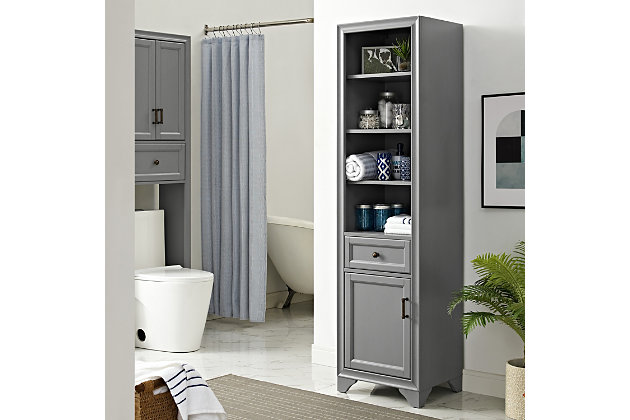 Crosley Tara Linen Cabinet, Gray, large