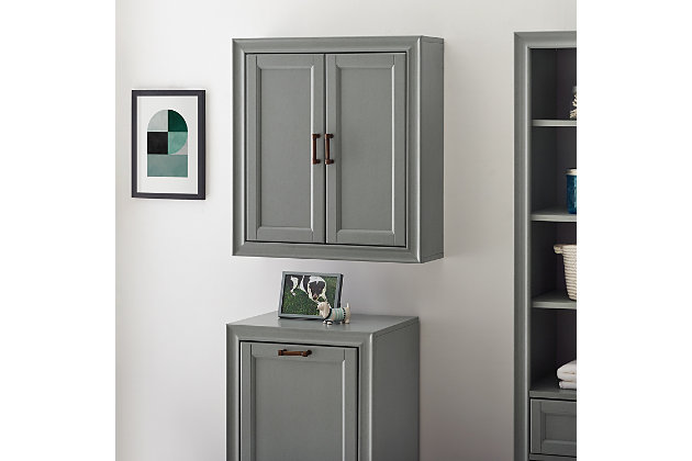 Crosley Tara Wall Cabinet, Gray, large