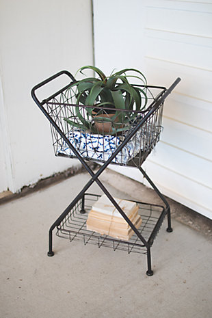 Kalalou Metal Basket With Stand, , rollover