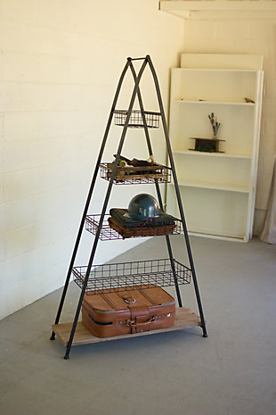 Kalalou A-Frame Tower With Wire Baskets And Wooden Shelf, , large
