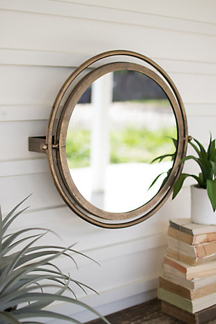 Kalalou Round Wall Mirror With Adjustable Bracket - Large, , rollover