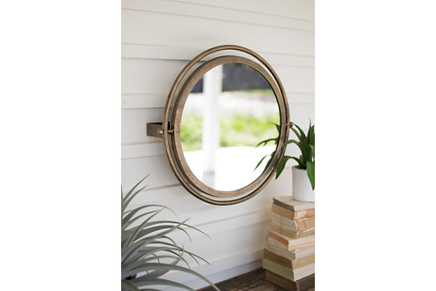 Kalalou Round Wall Mirror With Adjustable Bracket - Large, , large