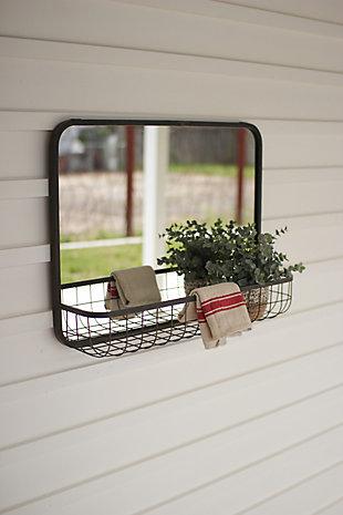 Kalalou Rectangle Mirror With Wire Basket Shelf, , large