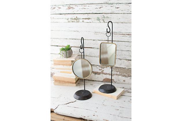Kalalou Table Top Metal Mirrors (Set of 2), , large