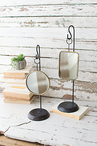 Kalalou Table Top Metal Mirrors (Set of 2), , large