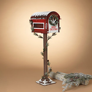 Christmas Wooden Holiday Mailbox with Pine Garland for Santa, , rollover