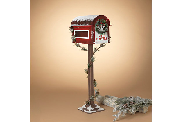 Christmas Wooden Holiday Mailbox with Pine Garland for Santa, , large