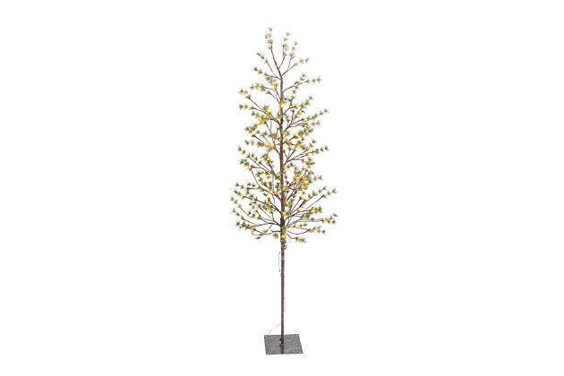 Christmas Electric Icy Pine Tree with 140 Warm White LED Lights, , large