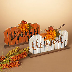 Fall Assorted Wood Tabletop Pumpkin Décor (Set of 2), , rollover