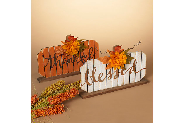 Fall Assorted Wood Tabletop Pumpkin Décor (Set of 2), , large