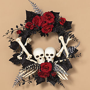 Halloween 24-Inch Halloween Skeleton and Roses Wreath, , rollover