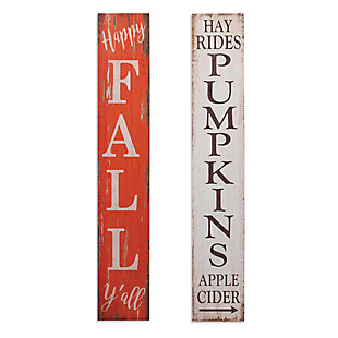 Fall 47.25-Inch High Wood Harvest Porch Signs (Set of 2), , rollover