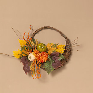 Fall 20-Inch Diameter Cornucopia Wreath with Pumplins and Berries, , rollover