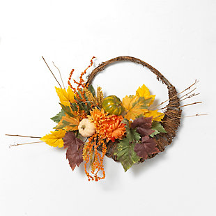 Fall 20-Inch Diameter Cornucopia Wreath with Pumplins and Berries, , large