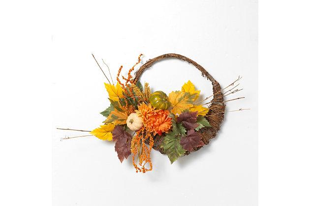 Fall 20-Inch Diameter Cornucopia Wreath with Pumplins and Berries, , large